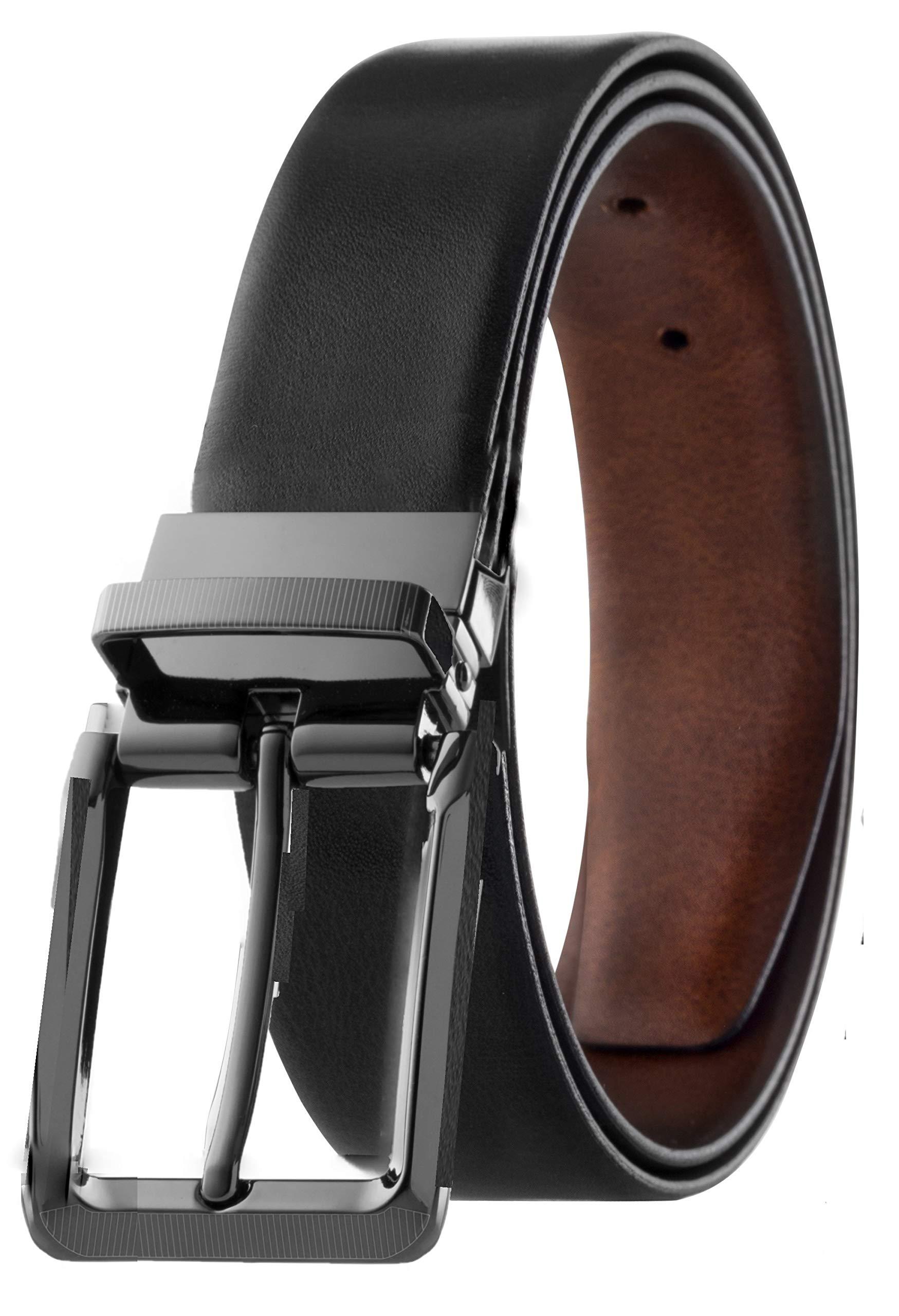 Mens Top Grain Leather Reversible Belt Italian Leather Black & Brown Marble Design Size 38