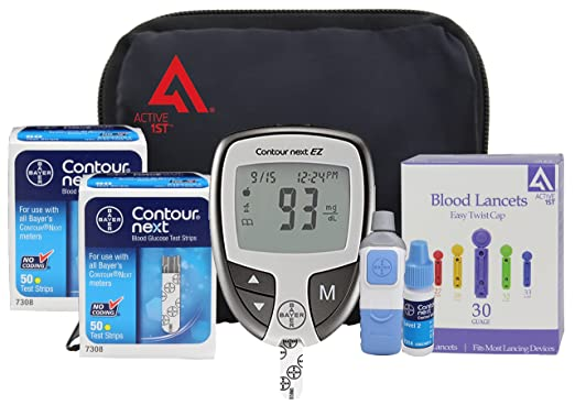 Active1st Bayer Contour NEXT EZ Diabetic Testing Starter Kit 100 Strips 100 Lancets