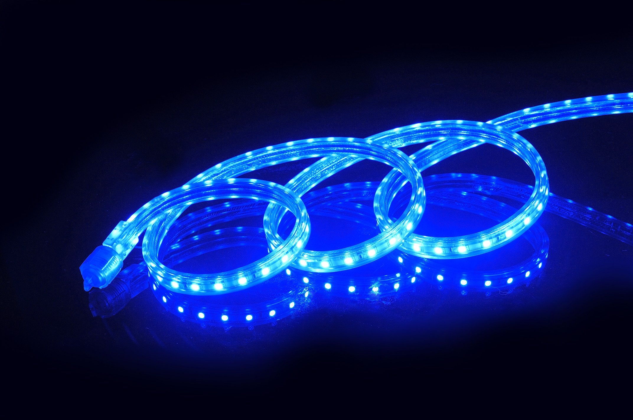 CBConcept UL Listed, 65 Feet,Super Bright 18000 Lumen, Blue, Dimmable, 110-120V AC Flexible Flat LED Strip Rope Light, 1200 Units 5050 SMD LEDs, Indoor/Outdoor Use, [Ready to use] by CBconcept (Image #1)