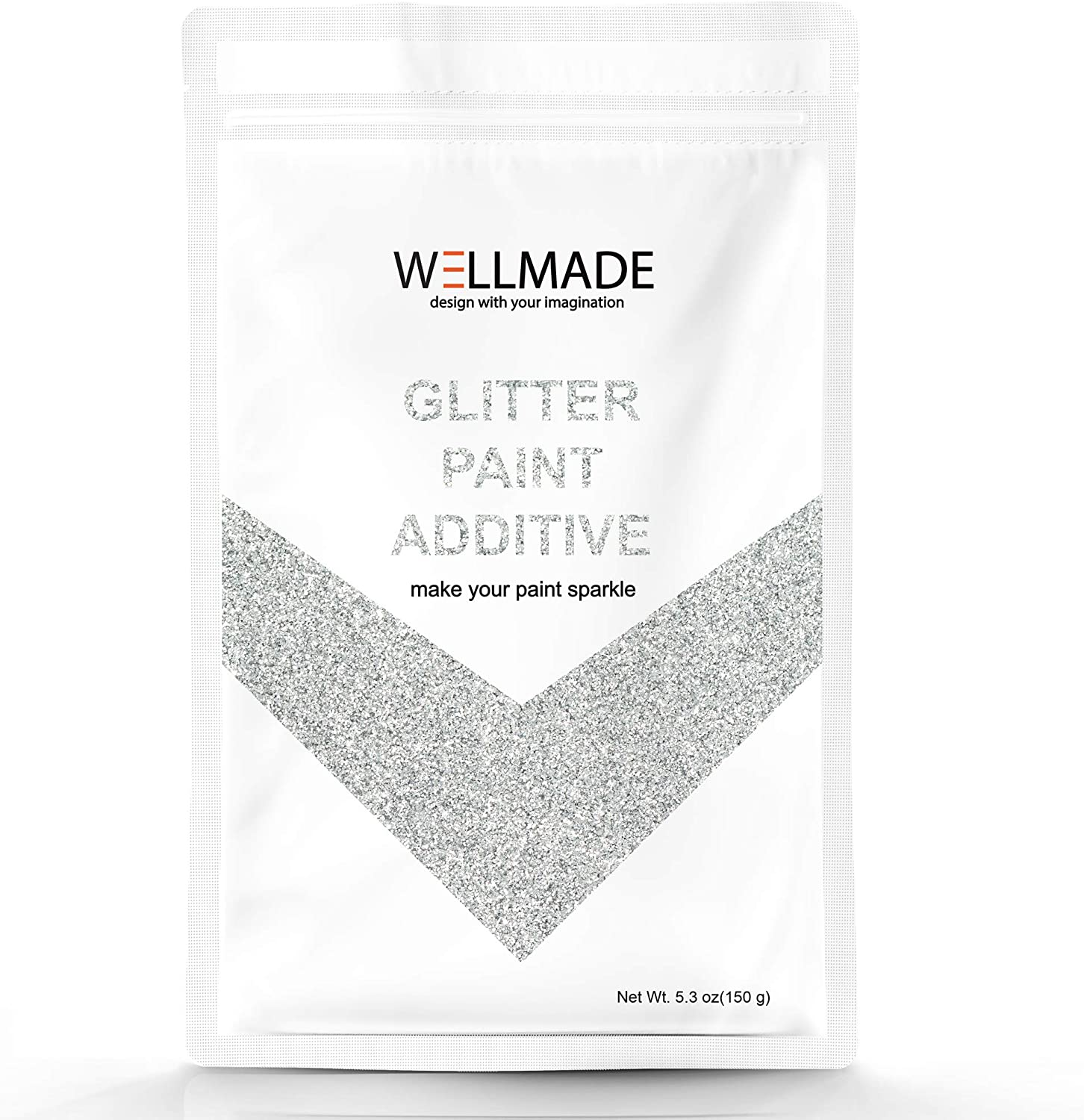 150g/5.3oz Wellmade Glitter Paint Additive for Wall Paint-Interior/Exterior Wall, Ceiling, Wood, Metal, Varnish, Dead Flat, DIY Art and Craft (150g/1bag, Silver)