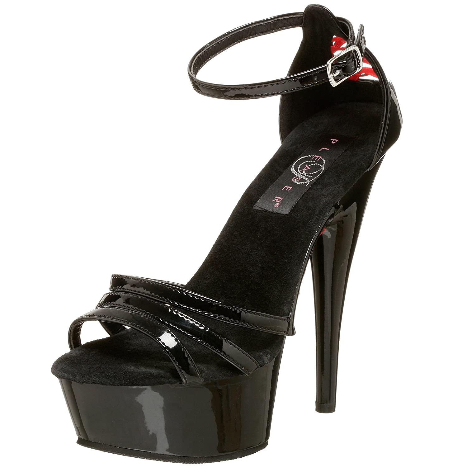 Pleaser Women's Delight-662 Ankle-Strap Sandal B0019Z1UVI 10 B(M) US|Black/Black