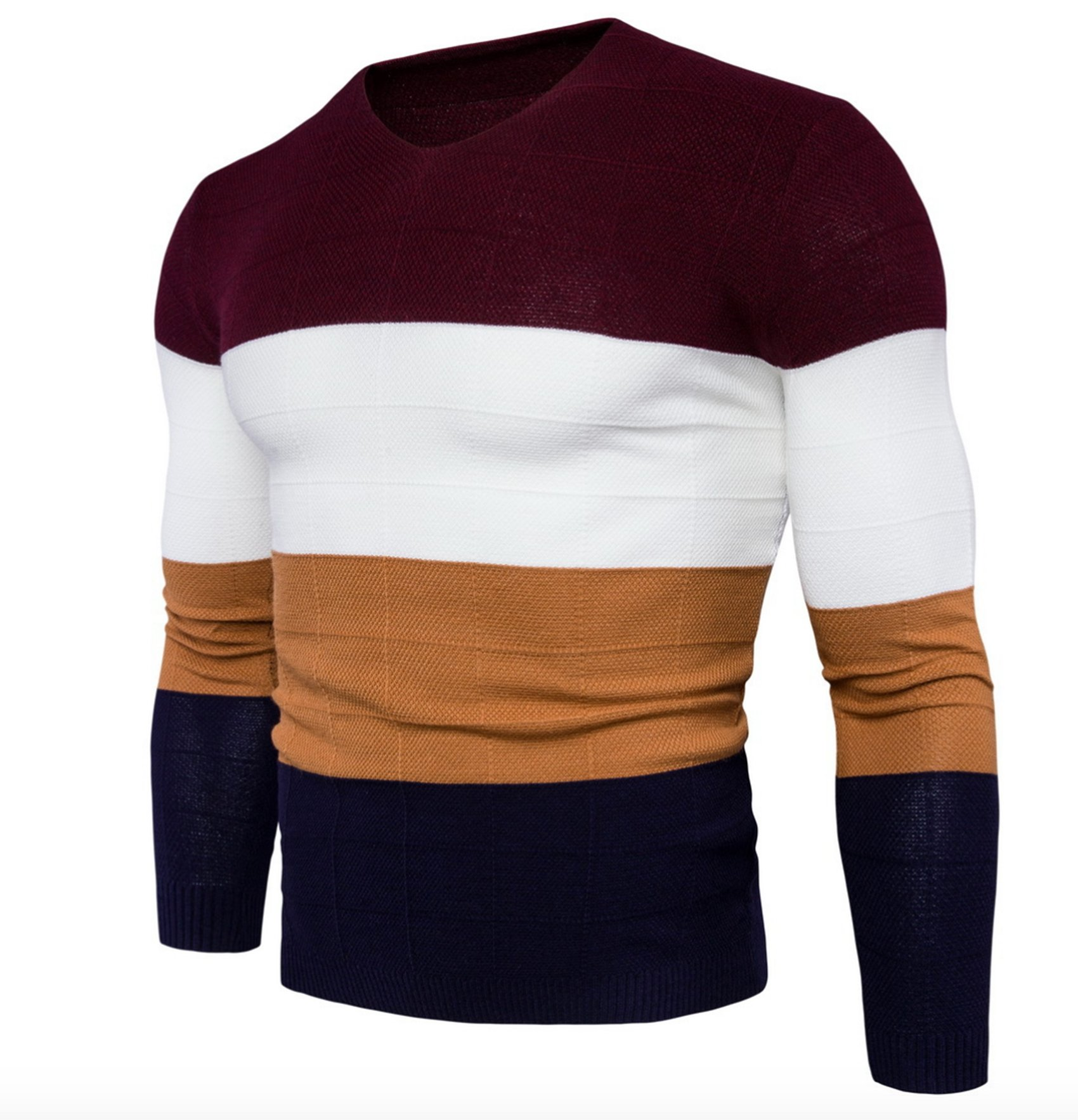 WSLCN Mens Chic Fine Knit V-Neck Coton Jumper Pullover Contrast Color Sweater Red US S (Asian L) by WSLCN (Image #2)