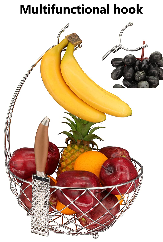 Bol de Rangement /à Fruits Dong jiang Roselife Panier /à Fruits Support Banane et Porte-Raisin Finition chrom/ée 29.5X 29.5 x 42 cm Silver