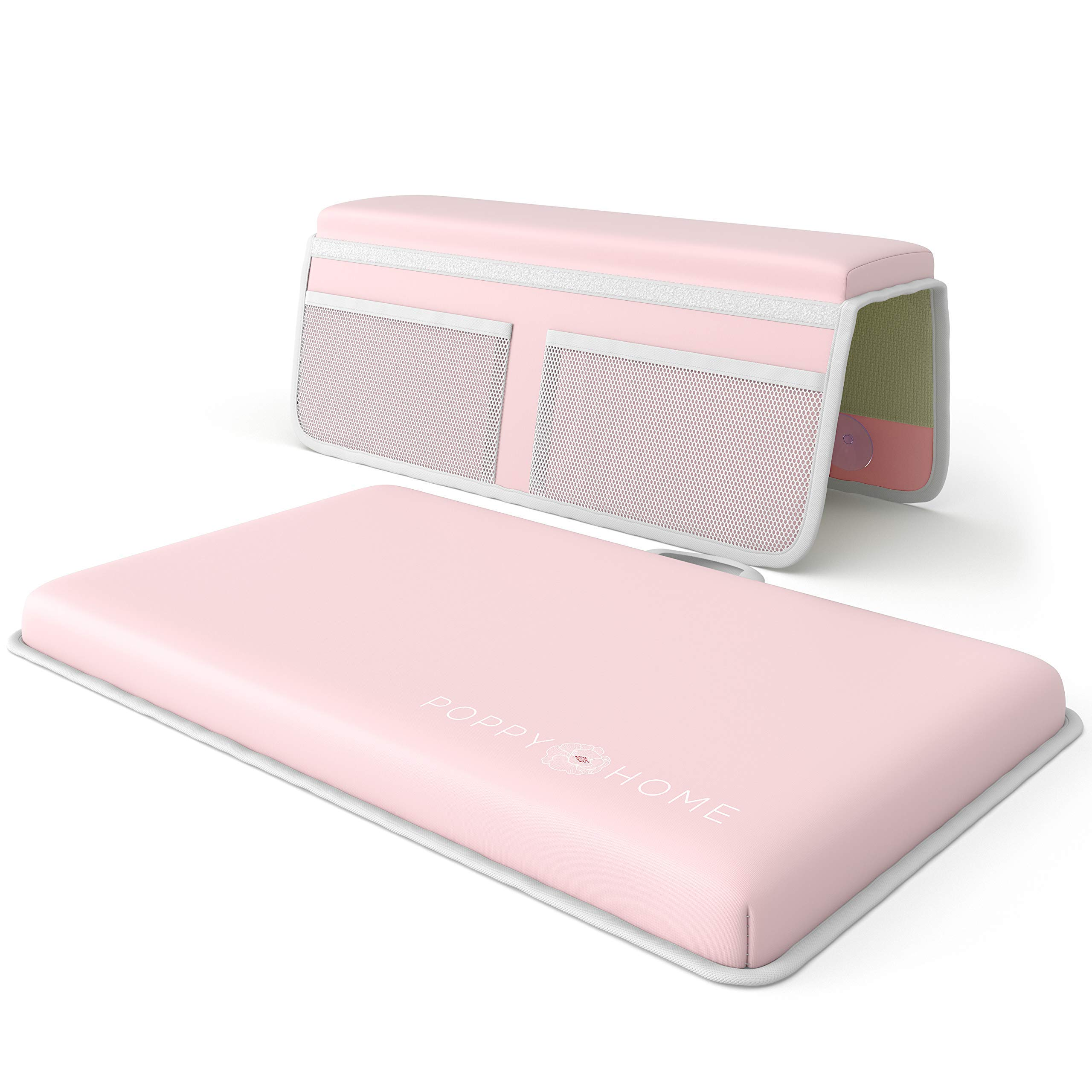 POPPY HOME Premium Bath Kneeler with Elbow Rest Pad Set: Padded Bathing Knee Cushion Mat, Mesh Pockets for Infant or Baby Bathtub Accessories, Pain Free Bathtime Knee Saver Mats. Shower Gift. Pink by Poppy Home