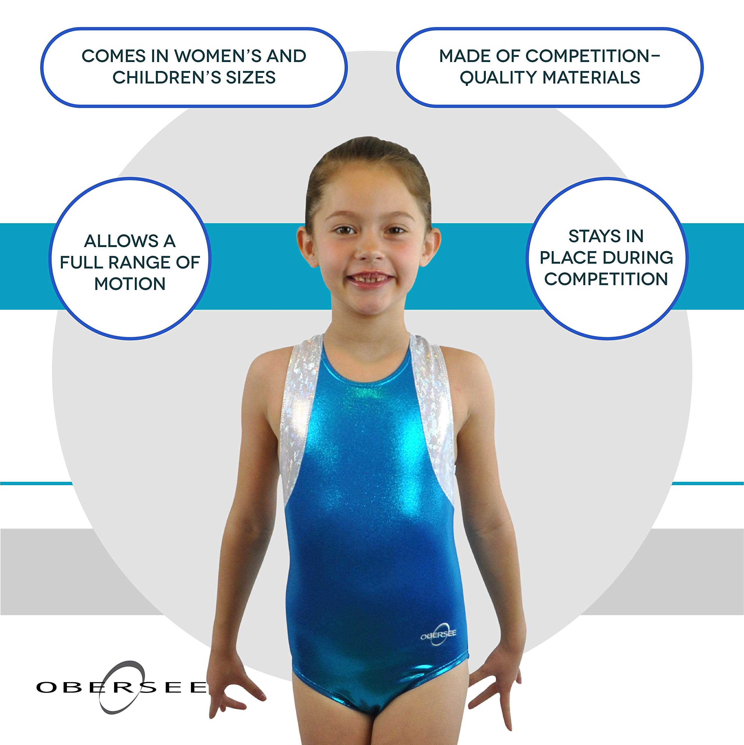 Obersee Girl's Girls Gymnastics Leotard, Cross Back Turquoise, AM by Obersee
