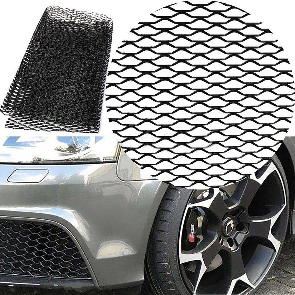Color Negro Rejilla de Rejilla para Coche Protector de Parachoques Delantero de Rejilla de Malla de Aluminio SparY Rejilla de Rejilla para Coche