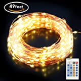 Aglaia LED String Lights, 150 LED 49Ft Copper Wire Lights, 10 Mode Christms Decorative Lights, Warm White Waterproof Starry Lights for Wedding, Party, Halloween