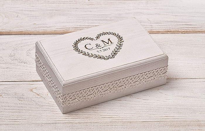 White Wedding Ring Box Keepsake Ring Box White Ring Bearer Box