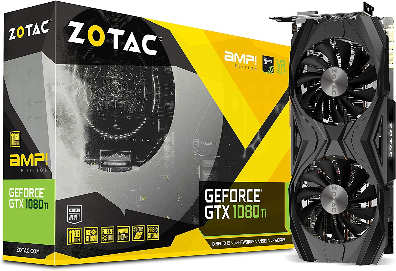 ZOTAC GeForce GTX 1080 Ti AMP Edition 11GB GDDR5X 352-bit PCIe 3.0 Gaming Graphics Card VR Ready(ZT-P10810D-10P) (Renewed)
