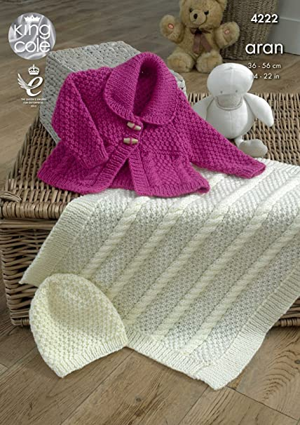 King Cole 4222 Knitting Pattern Baby Jacket Blanket And Hat To Knit