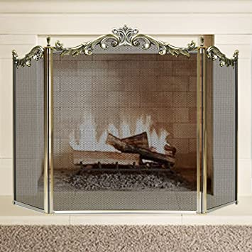 iron fireplace cover. Large Floral Fireplace Screen 3 Panel Bronze Wrought Iron Metal Decorative  Mesh Fire Place Standing Gate Amazon com