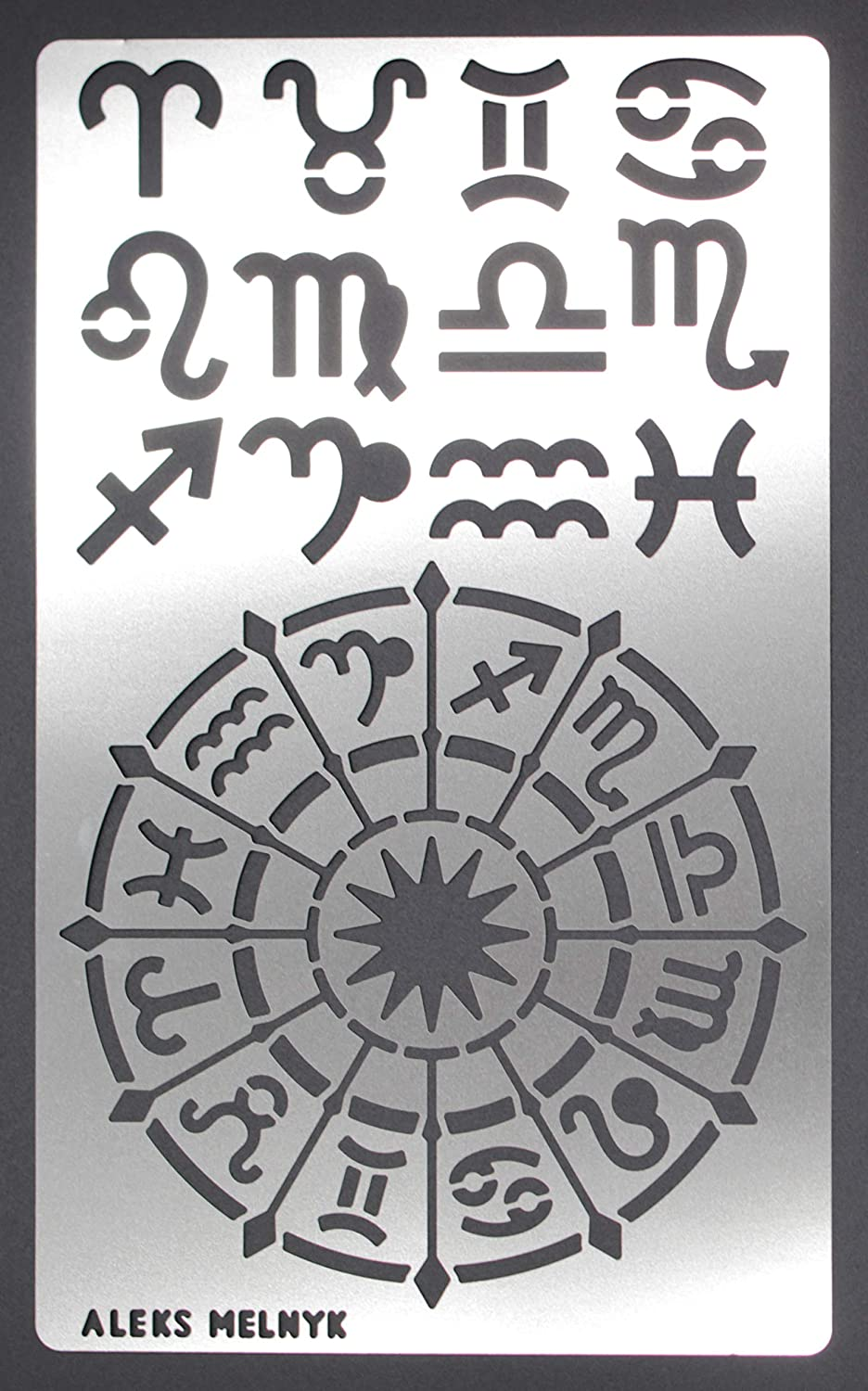 Astrology//Stainless Steel Stencils Kit 2 PCS//Template Tool for Wood Burning Aleks Melnyk #29 Metal Journal Stencils//Zodiac Signs Pyrography and Engraving//Scrapbooking//Crafting//DIY