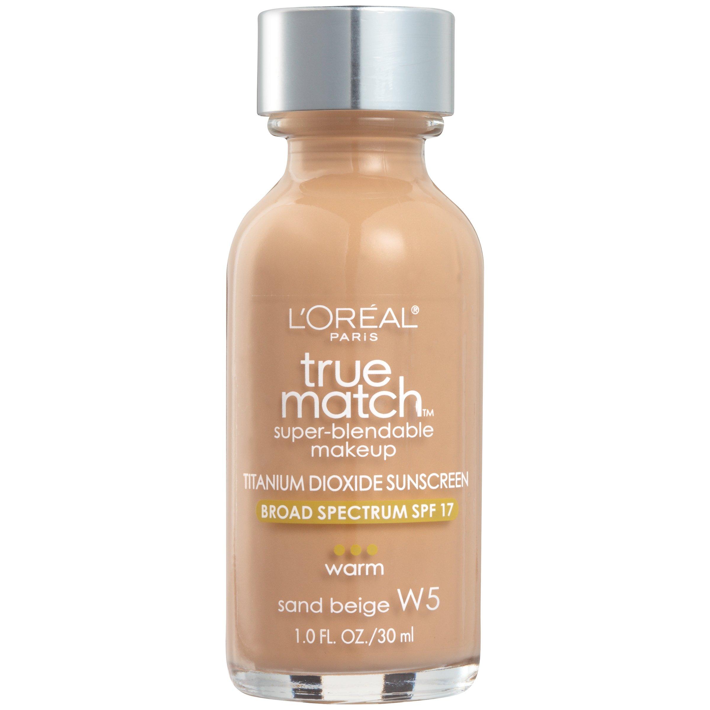 L'Oreal Paris Makeup True Match Super-Blendable Liquid Foundation, Sand Beige W5, 1 Fl Oz,1 Count