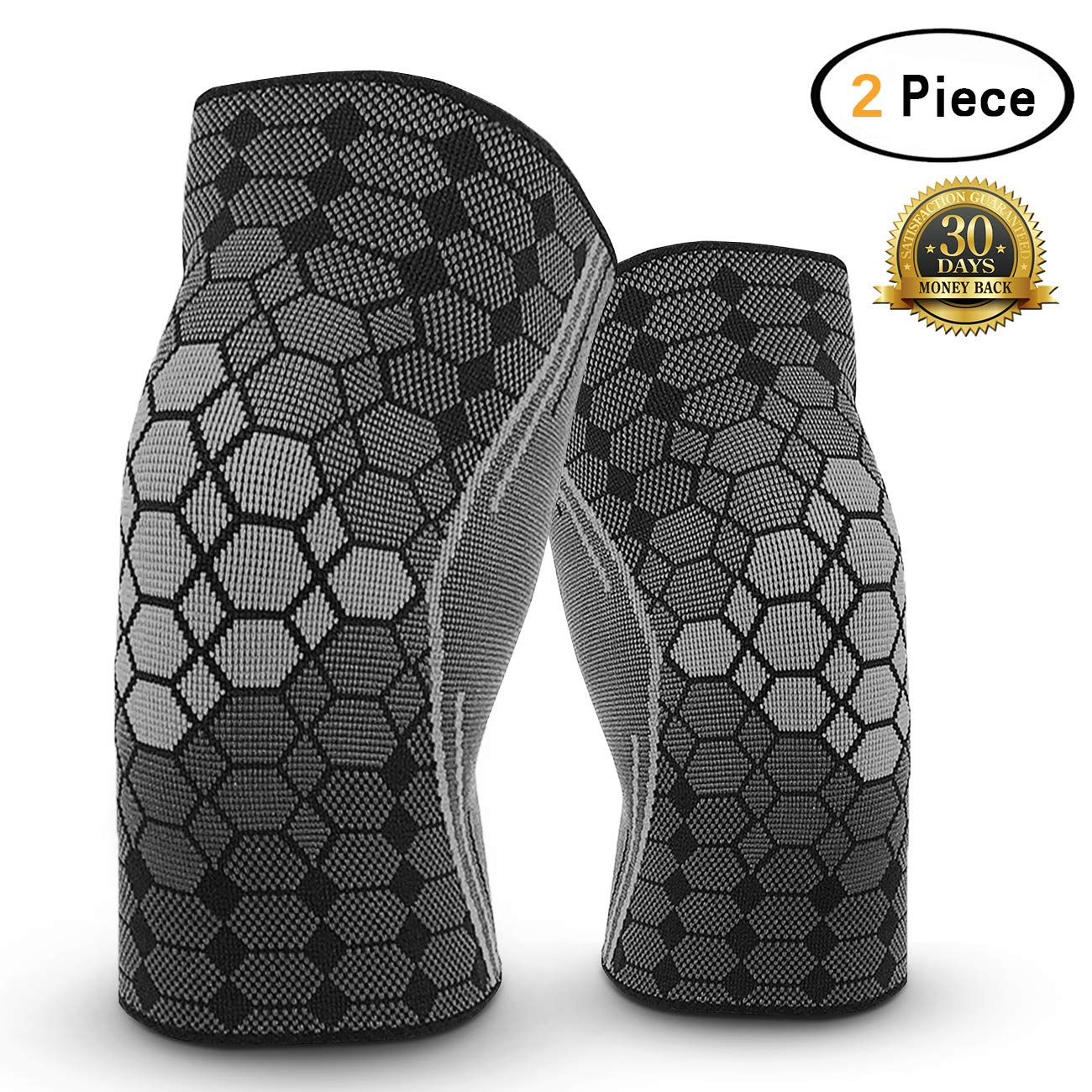 Dimiyer Compression Knee Brace Sleeve for Running Meniscus Tear Arthritis Weightlifting Crossfit Yogaing Recovery Lightweight Support Knee for Men and Women (2 Piece Black, Medium)