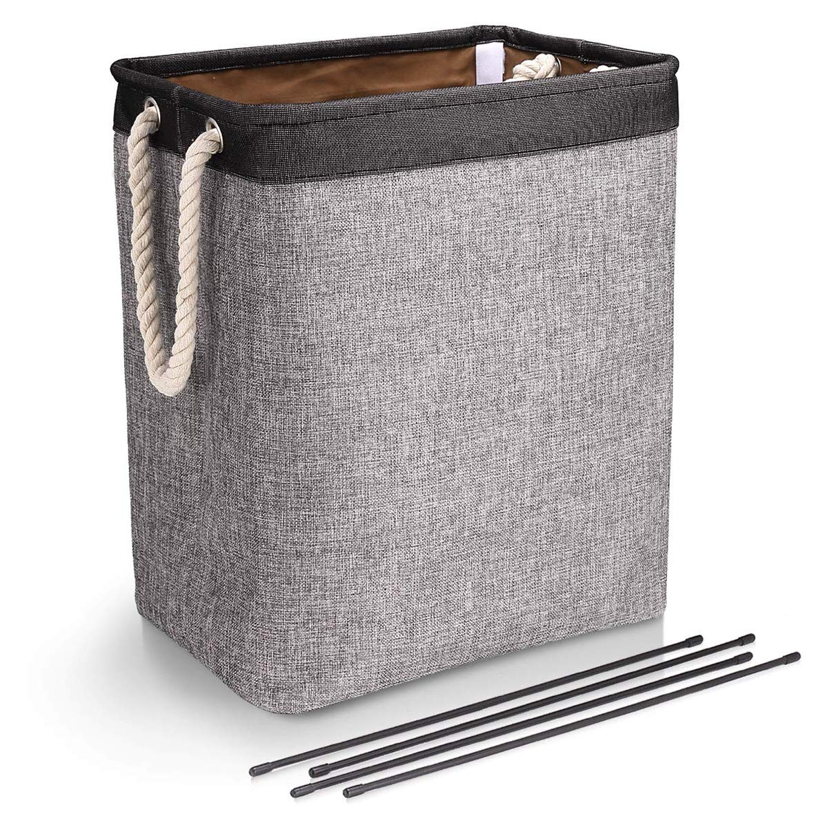 65L Laundry Basket Clothes Hamper with Handles Linen Hampers for Storage Bags Built-in Lining with Detachable Brackets Well-Holding Upgrade Foldable Laundry Hamper for Toys Clothing Organization