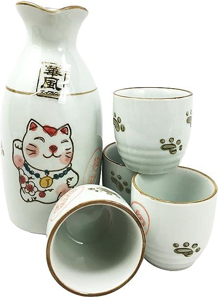 SET of 3 Japanese Porcelain Sake Bottle /& Cups Bohemian Black Cat Made in Japan