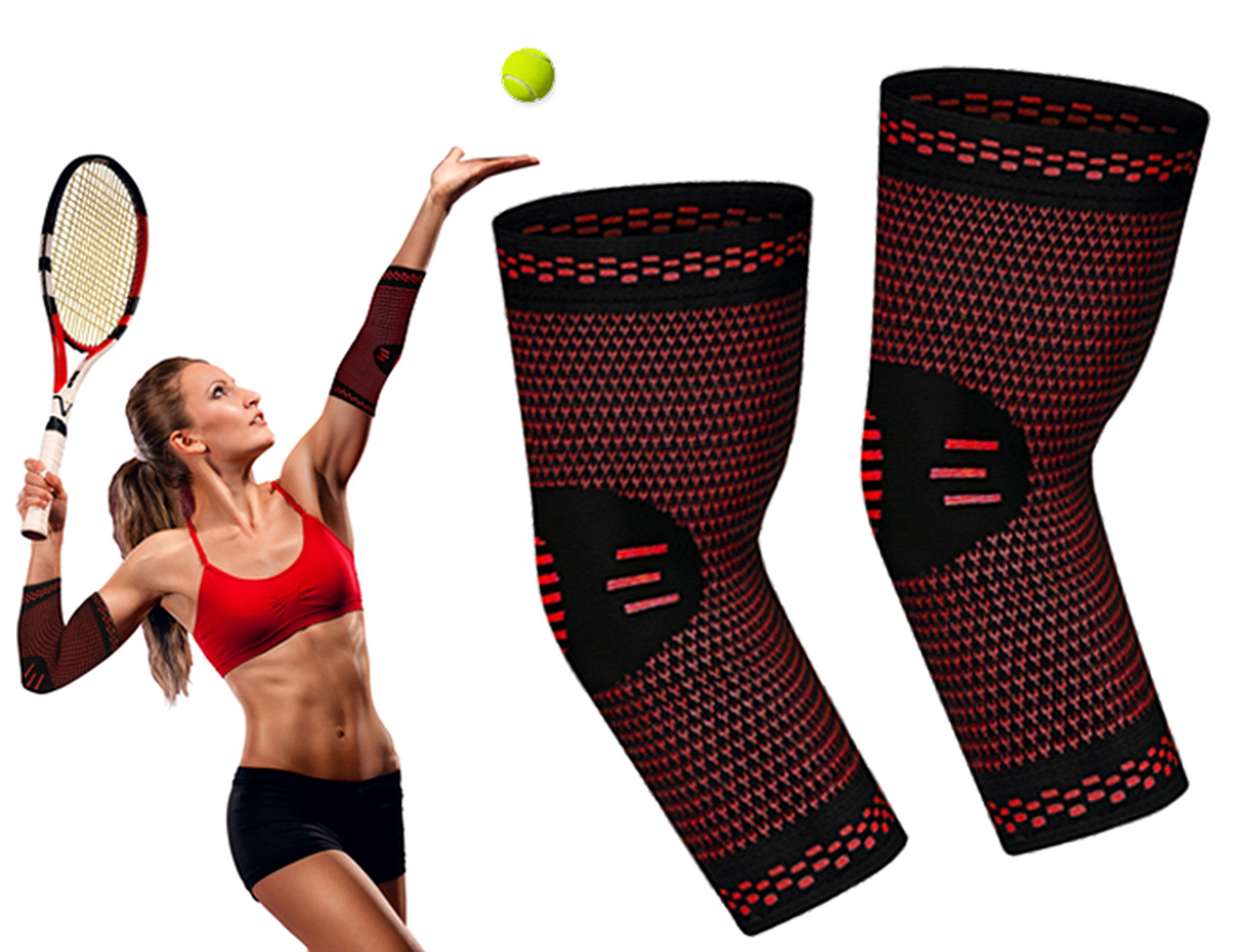 Elbow Brace RIMSports - Best Tennis Elbow Braces for Women & Men - Premium Elbow Sleeve - Best Compression Arm Sleeve- Preferred Large, Medium, Small Tennis Elbow Brace (Red, S)