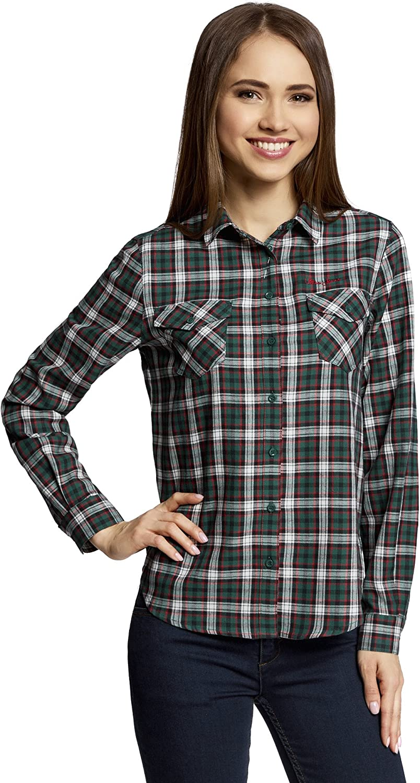 oodji Ultra Mujer Camisa a Cuadros con Bolsillos