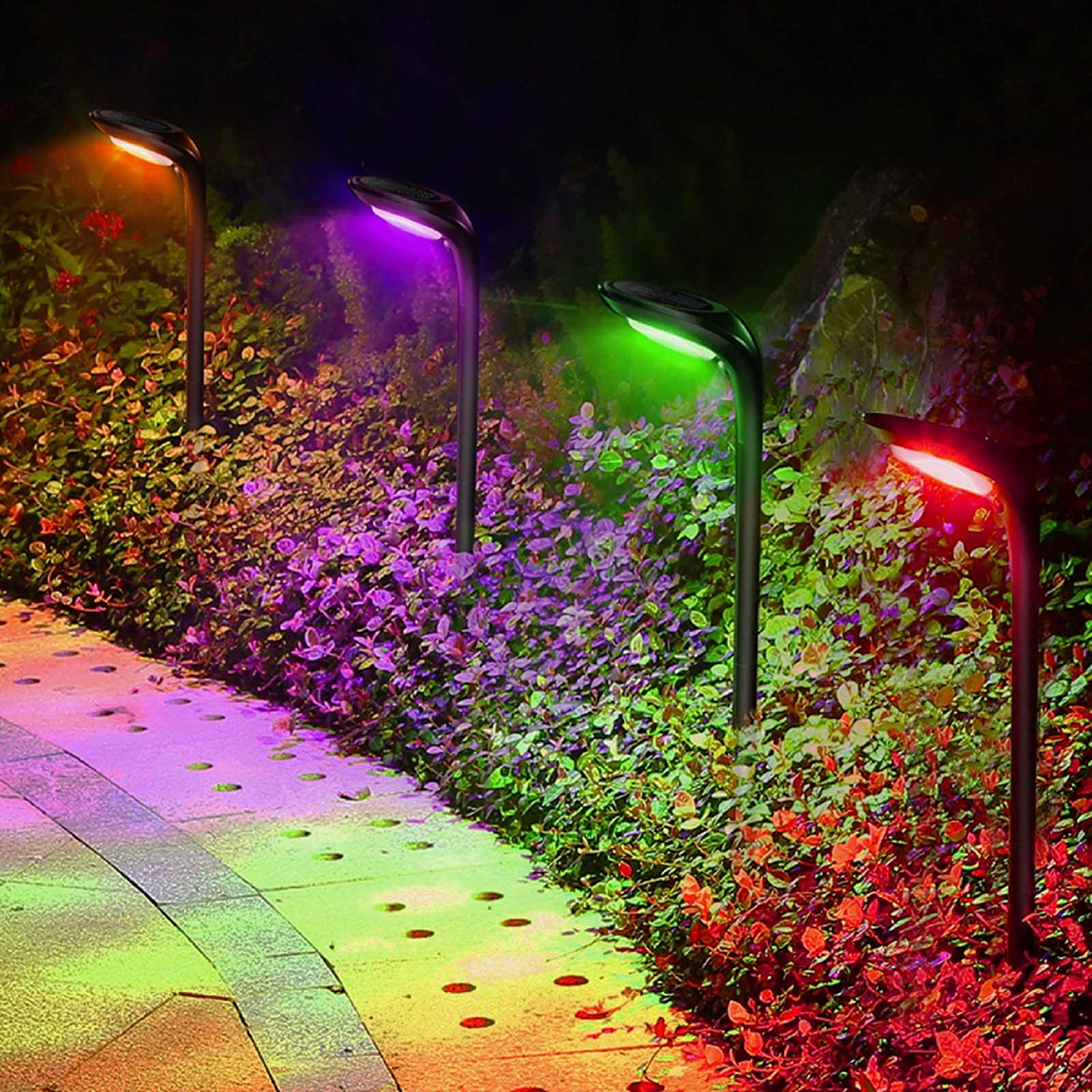 4 Pack Solar Landscape Lights 7 Colors 12 LED Beads Solar Ground Lights Flood Lamps Waterproof Solar Path Lights Outdoor for Garden Patio Yard Driveway Walkway Landscape