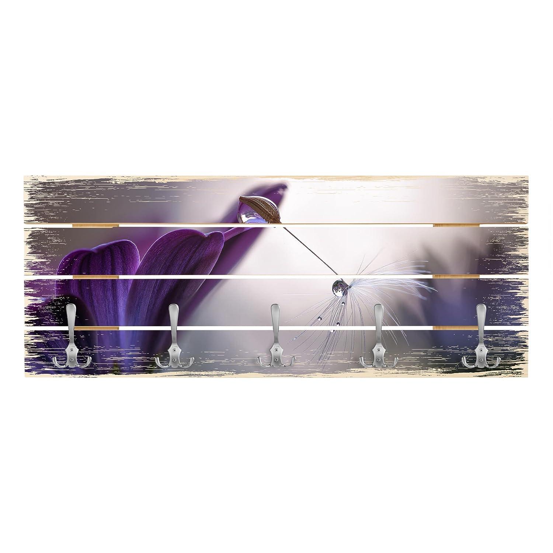 Bilderwelten Wandgarderobe Holz - lila Rain - Haken Chrom - Quer, 40cm x 100cm