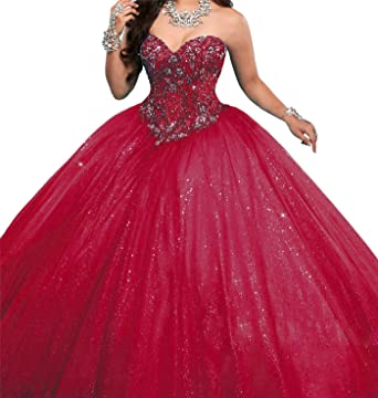 Yang Women Sweetheart Beaded Party Gowns Full Length Quinceanera ...
