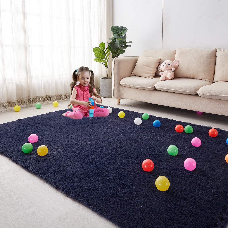 Soft Area Rug for Bedroom, 5'X7' Navy Blue Rug for Living Room, Fluffy Carpet for Kids Room, Shaggy Floor Mat for Nursery Room, Furry Rectangular Rug for Baby, Teen Room Decor for Girls Boys