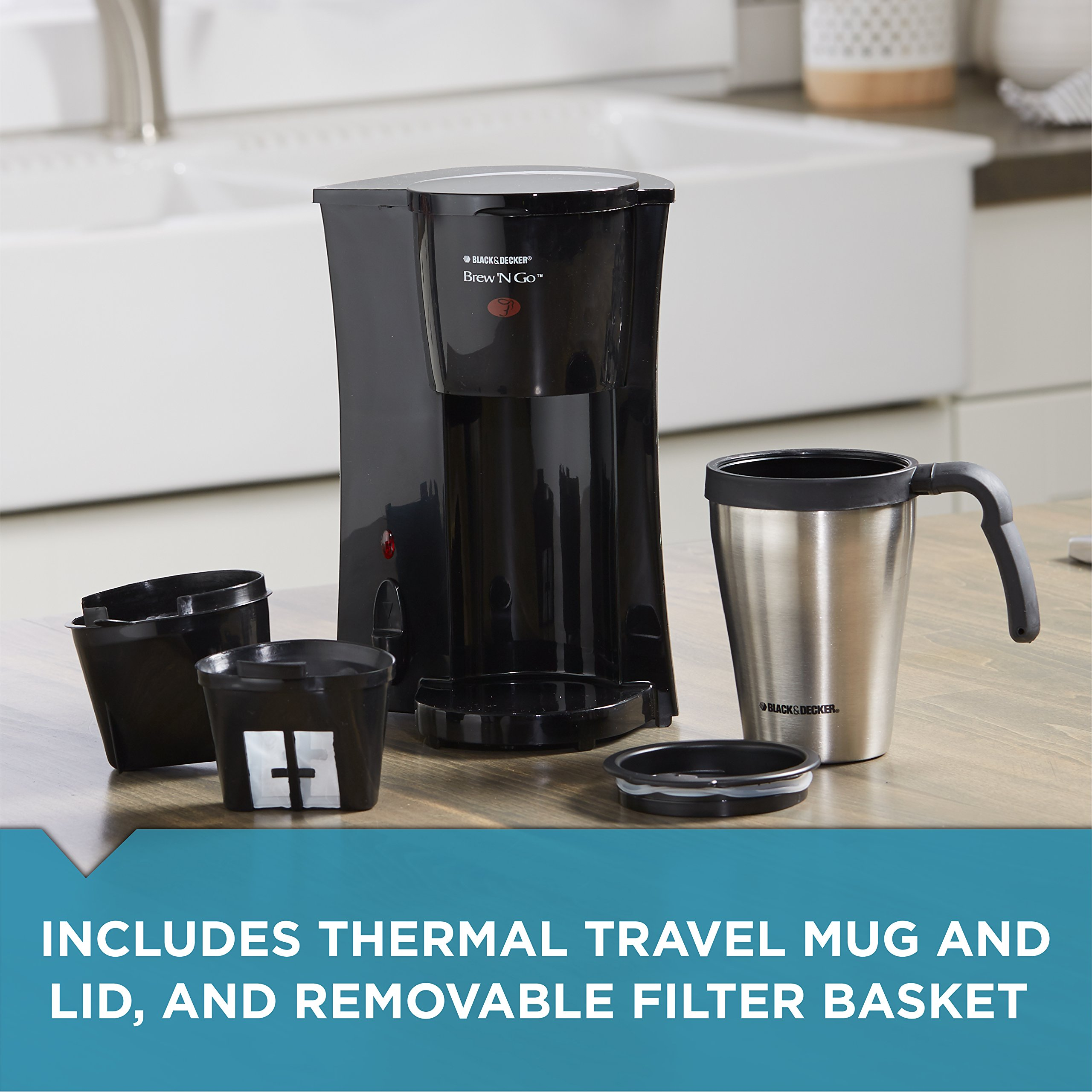 BLACK+DECKER DCM18S Brew 'n Go Personal Coffeemaker with Travel Mug, Black/Stainless Steel by Black & Decker (Image #5)