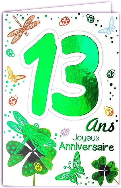 Afie Carte Joyeux Anniversaire 13 Ans Ados Garcon Fille Couleur Selon Disponibilite Verte Orange Cuivre Cf Photos Porte Bonheur Trefles A Quatre Feuilles Coccinelles Amazon Fr Fournitures De Bureau
