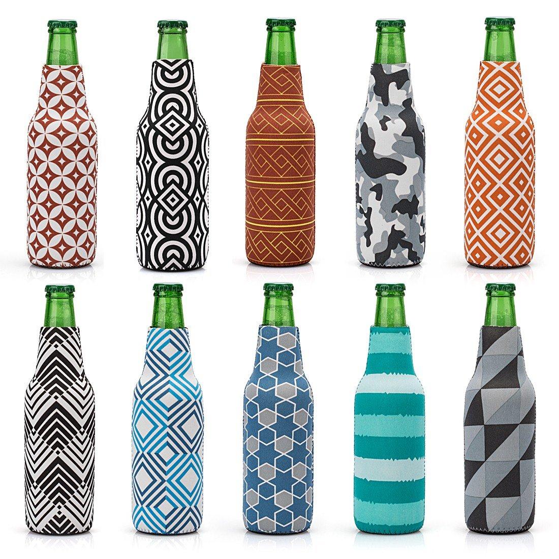 Avery Barn 10pc Mixed Trendy Design Neoprene Zipper Sleeve Insulated Beer Bottle Covers - Set 3: Patternpalooza