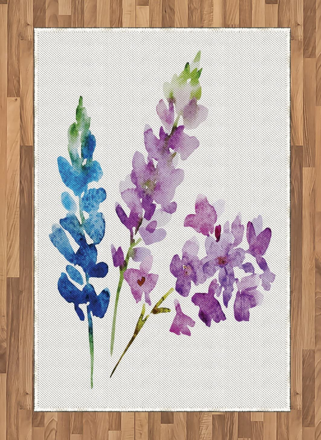 Ambesonne Floral Area Rug, Branches of Watercolor Flowers in Spring Color Shades Lavender and Violet Bouquet, Flat Woven Accent Rug for Living Room Bedroom Dining Room, 4 X 5.7 , Multicolor