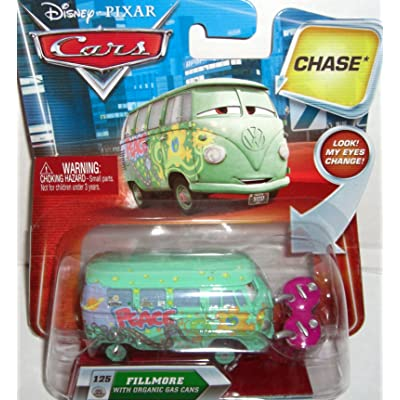 Disney / Pixar CARS Movie 155 Die Cast Car with Lenticular Eyes Series 2 Fillmore with Organic Gas Cans Chase Piece!: Toys & Games