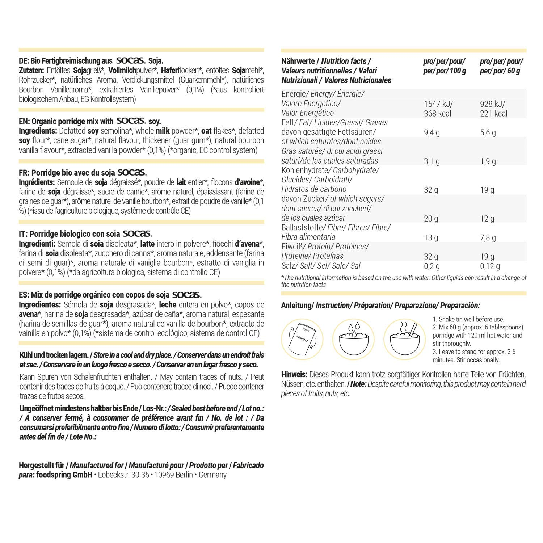 foodspring Porridge proteico, Orgánica Vainilla, 420g, Desayuno ...