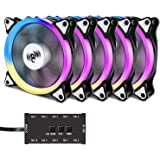 Aigo Aurora C5 Kit Case Fan 5 Pack RGB LED 120mm High Performance High Airflow Adjustable colorful PC CPU Computer Case Cooling Cooler with Controller