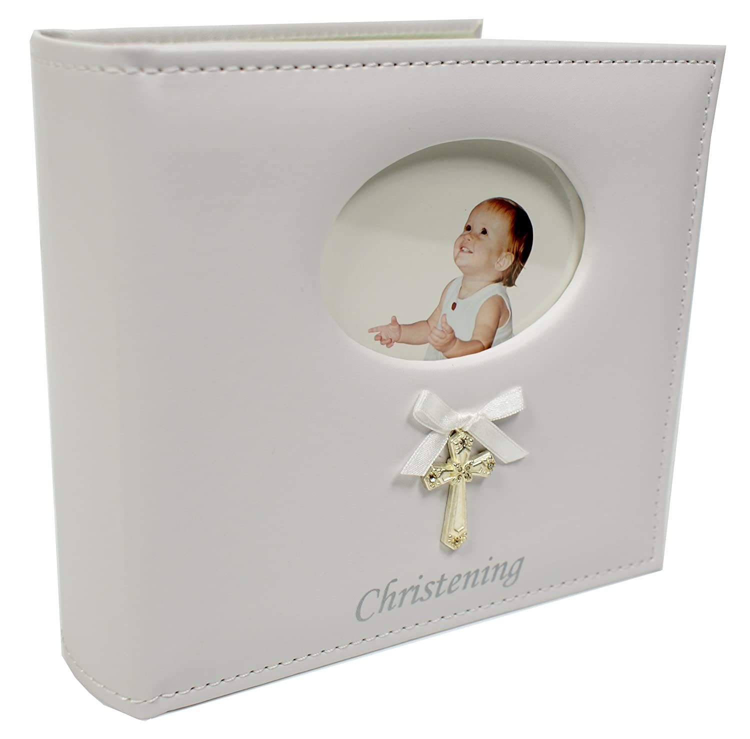 Leatherette Christening Photo Album with Cross and Ribbon Shudehill 77790