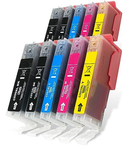 10 XL CLI-551 XL/PGI-550 XL Cartuchos de tinta para impresoras Canon Pixma MG5450 MG5550 MG5650 MG6350 MG6450 MG6650 MX725 MX925 MX725 MG7150 iP7250 ...