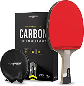 PRO SPIN Elite Series Carbon Ping Pong Paddle   Performance-Level Table Tennis Racket with Carbon Fiber Technology, Bonus Premium Rubber Protector   Professional Table Tennis Paddle
