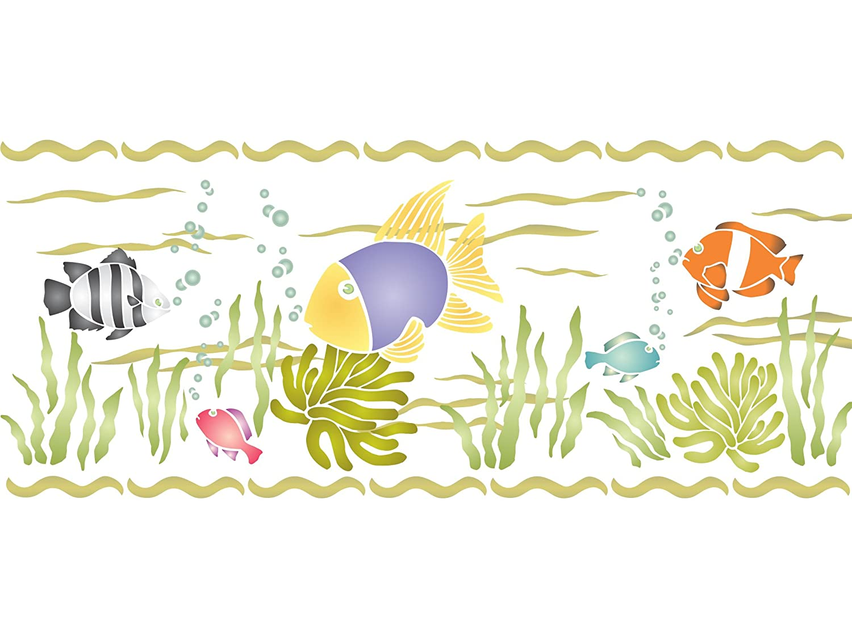 Pared y Plantilla de Muebles QBIX Plantilla de Siluetas de Pescado Sealife A3 42 x 29,7 cm Pintura Pl/ástico Ancho del Primer tibur/ón 22 cm Manualidades