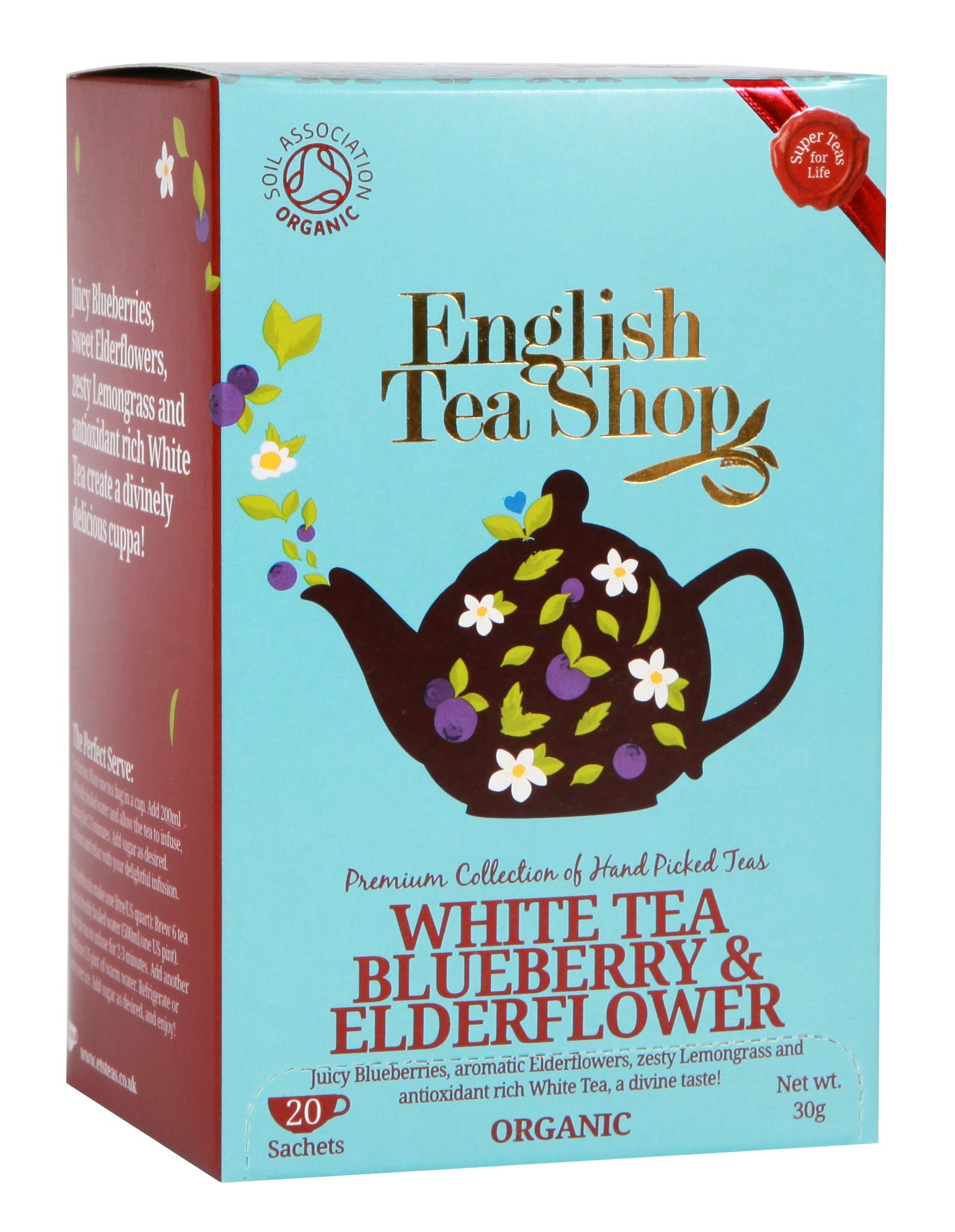 English Tea Shop White Tea Blueberry and Elderflower Tea Bags, 30 Gram (Pack of 6) by English Tea Shop