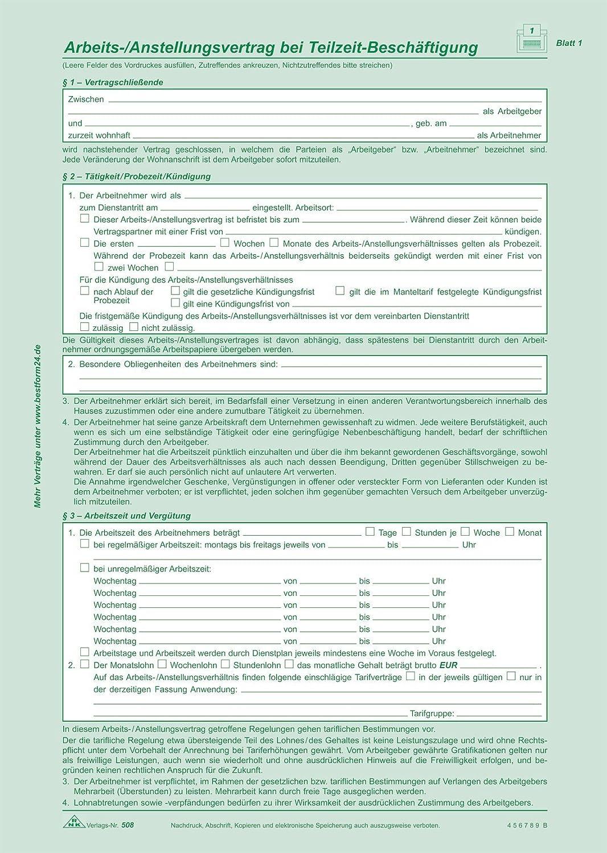 Formular Arbeitsvertrag Für Teilzeitbeschäftigung