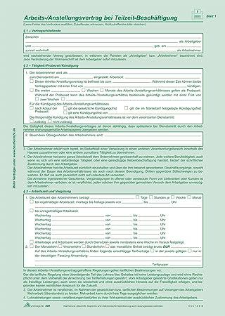 Formular: Arbeitsvertrag für Teilzeitbeschäftigung ...