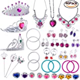 WATINC Princess Pretend Jewelry Toy,Girl's Jewelry Dress Up Play Set,Included Crowns, Necklaces,Wands, Rings,Earrings andBracelets,46 Pack