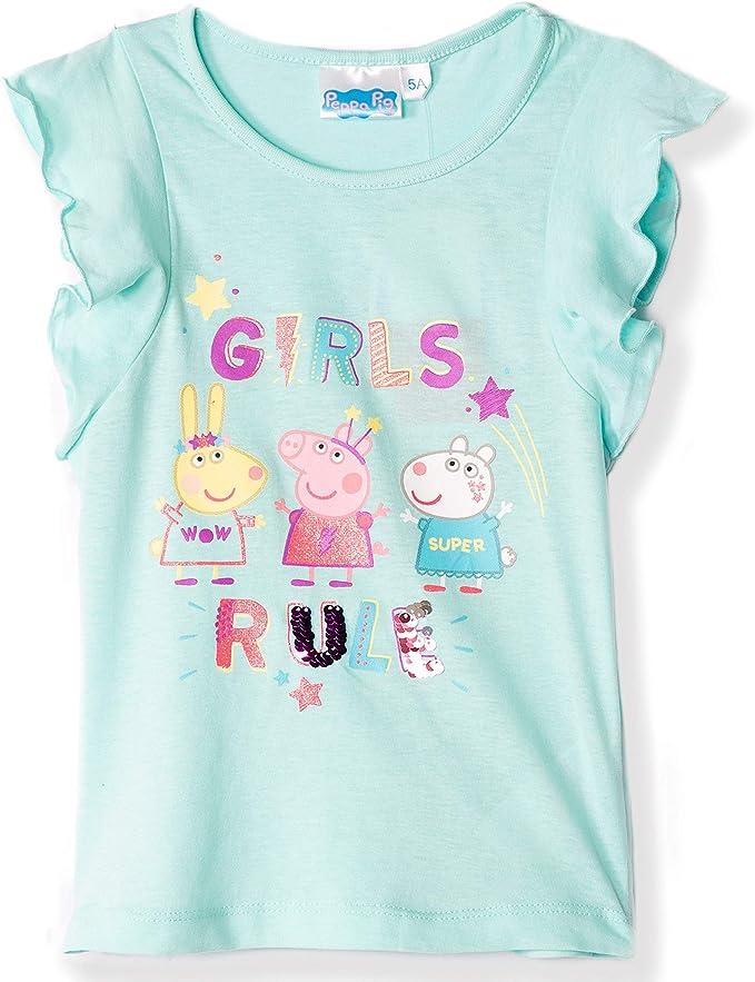 Peppa Pig - Camiseta Oficial para niña, 100% algodón, con ...