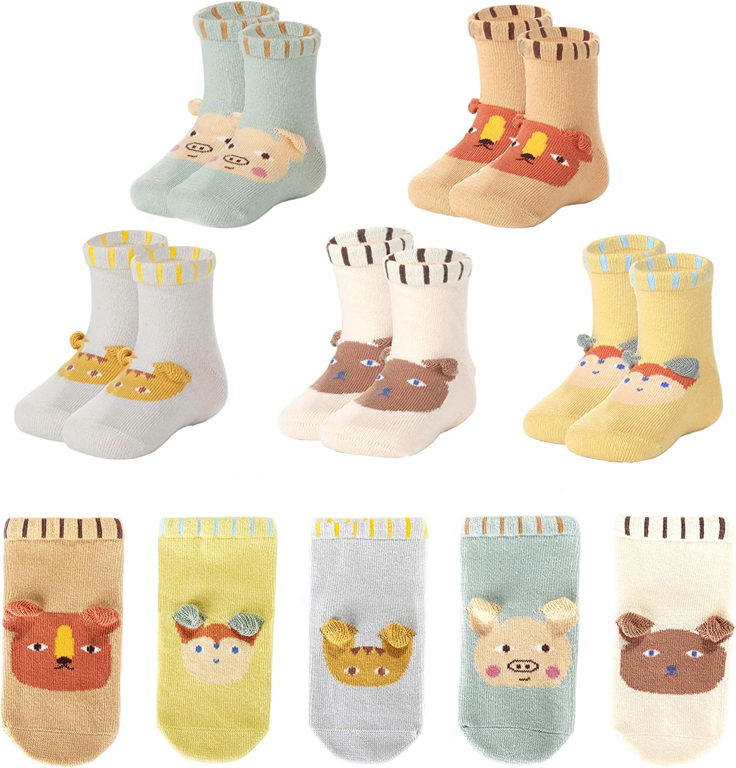 Baby Boy Girl Slipper Socks Kids Fall Cartoon Toddler Anti-slip Sock Shoes Soft