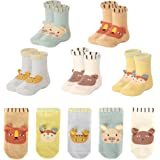 TTIZZY Toddler Non Skid Cotton Ankle Socks with Grips, 5 Pairs Gift Pack for Baby Boys Girls(1T,2T,3T)