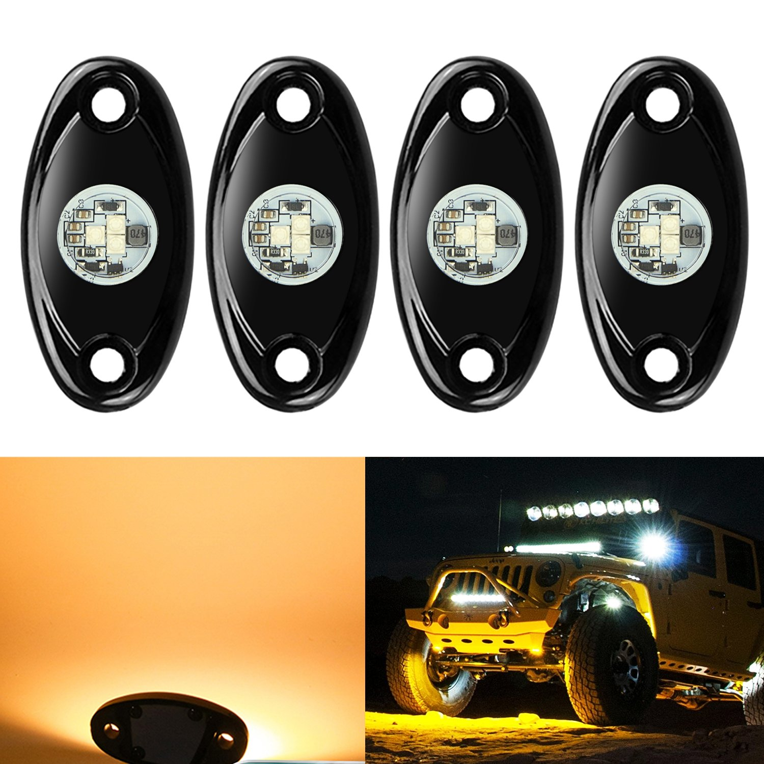 4 Pods Led Rock Lights Kit Ampper Waterproof Underglow Sale 10pcs Universal Off Road Jeep Light Bar Wiring Harness Neon Trail Rig For Car Truck Atv Utv Baja Raptor Offroad Boat Lamp