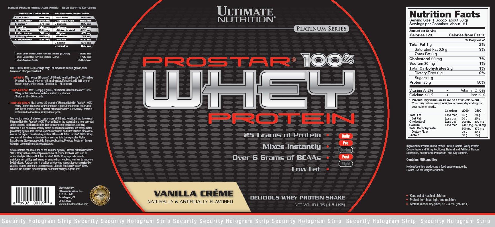 Prostar 100% Whey Protein (Vanilla, 10lb (4.53kg))