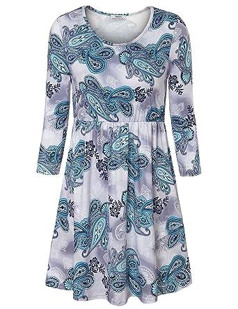 Damen Sommer Tuniken, Youtalia Empire-Stil 3 4 Arm Lang Oberteile zum  kombinieren bc78937cdd