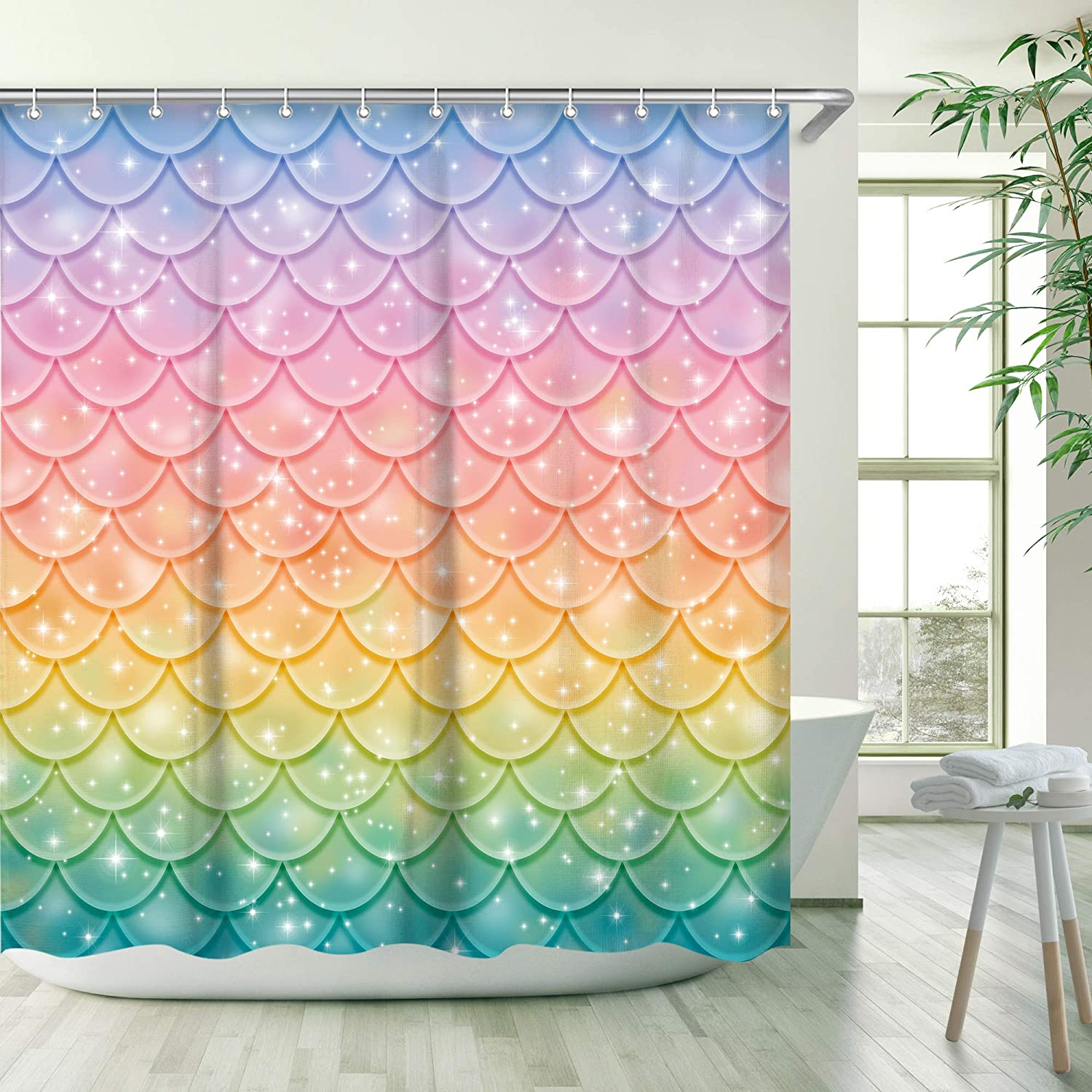 RosieLily Mermaid Shower Curtain for Bathroom Pink Blue Lilac Fish Scale Ocean Theme, 3D Colorful Mermaid Scale Shower Curtain Bathroom Decor with 12 Hooks 72 Inch