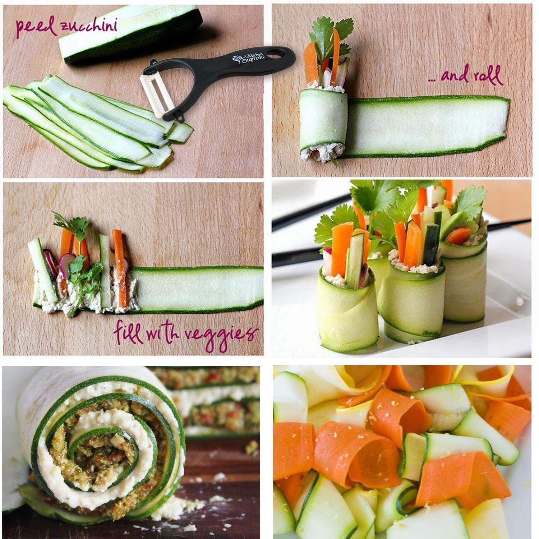 Spiral Slicer Spiralizer Complete Bundle - Vegetable Spiralizer and Cutter - Zucchini Pasta Noodle Spaghetti Maker by Kitchen Supreme (Image #5)
