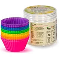 Pantry Elements Silicone Cupcake Baking Cups Liners with Bonus Storage Jar, Pack of 12 Reusable Non-Stick Muffin Liner…